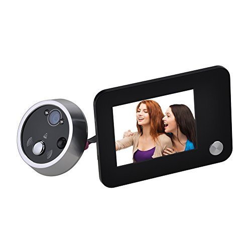 3.5 Inch LCD HD Monitor Display Digital Camera Door Peephole Viewer Auto Photo Snapping Video Recoding with Doorbell -  WEKSI, MD00301BK