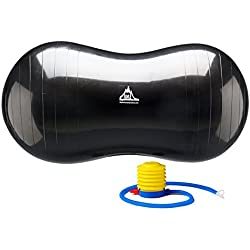 Black Mountain Products Peanut Stability Ball with 1000 lb Static Weight Capacity Pump, Black
