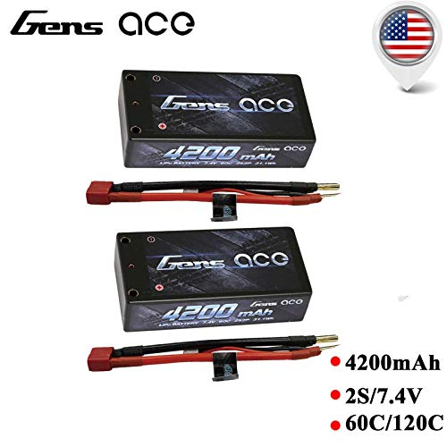 Gens ace 2 Pack 4200MAH Shorty 2S 7.4 60C LIPO Battery LOSI 22 Orion