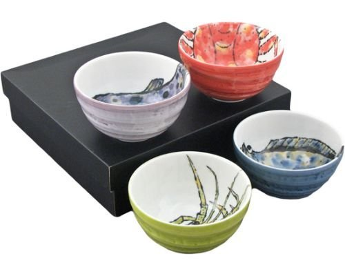 "Authentic Japanese Porcelain Multi Purpose Bowl Set of 4 Japanese Seafood Crab Lobster Pufferfish Flounder Assorted Colors Design Gift Set Made In Japan (5.25"" x 3"" Medium Rice Bowl)"