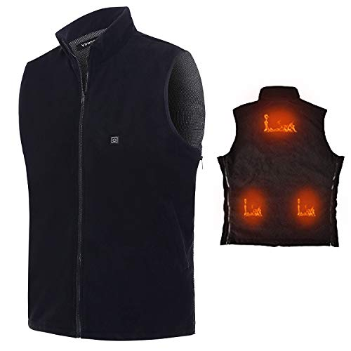 Electric Heated Vest Vinmori Washable Size Adjustable Fleece Soft Texture USB Heated Clothing for Motorcycle Snowmobile Bike Riding Hunting Golf (Battery Not Included) ()