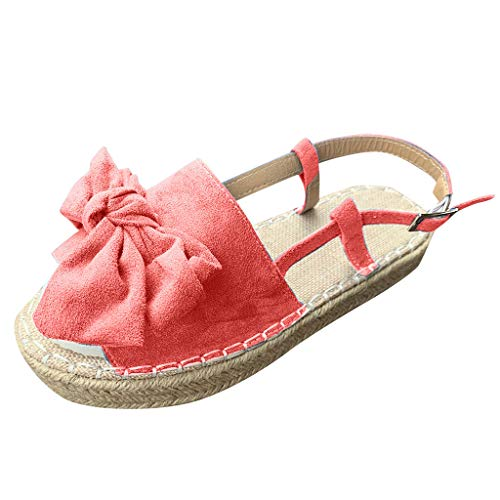 Platform Sandals for Women,ONLY TOP Women Summer Platform Espadrille Sandals Open Toe Stretch Ankle Strap Shoes Red