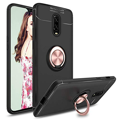 Venoro OnePlus 6T Case, 360 Degree Rotatable Ring Stand and Ring Holder Kickstand Fit Magnetic Car Mount Slim Soft Protective Case Cover Compatible OnePlus 6T (Rose Gold)