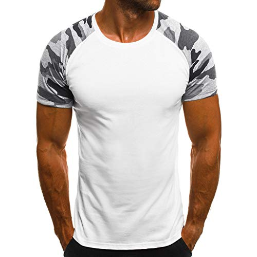 (Men's Casual Raglan Block Short Sleeve T-Shirts Slim Fit Stretch Crew Neck Wicking Baseball Tee Tops (M, White))