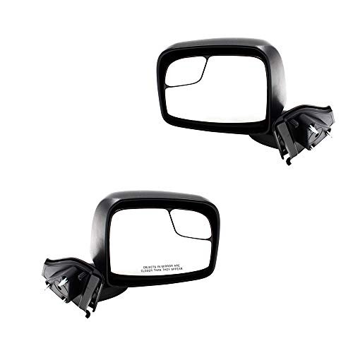 BROCK Pair Set Manual Side View Mirrors Spotter Glass Textured Replacement for Chevy City Express Nissan NV200 Van 19317311 963023LM0A 19317310 963013LM0A