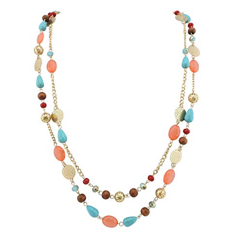 (Bocar 14K Gold Plated Link Chain 2 Layer Crystal Wood Acrylic Colorful Women Party Long Necklace Gift (10084-coral))