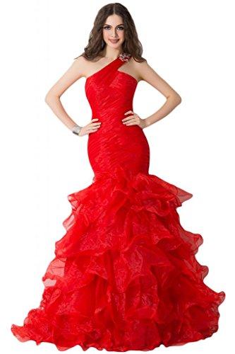 da Pageant Charming Rosso One sera da spalle rouches vestito sera abito Gowns Sunvary 70IqdAxq