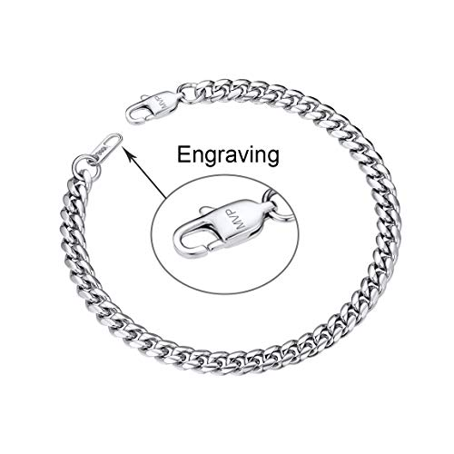 (Mens Engrave Name Bracelets Stainless Steel Curb Chain 6MM 19CM with Lobster Claw)