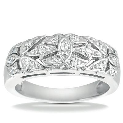 0.40 ct TW Round Cut Diamond Wedding Band In Pave Setting in 14 kt White Gold in Size 7.5