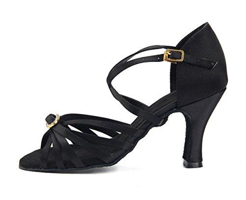 Sandali ballo neri con cerniera per donna whWW9