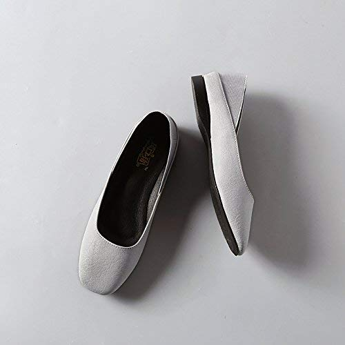 Eeayyygch Gericht Schuhe Runde Flache Schuhe Schuhe Schuhe weiblichen flachen Mund flach mit bequemen Freizeitschuhe Retro Wilde Oma Schuhe Frau 39 grau (Farbe   - Größe   -) dafc2e