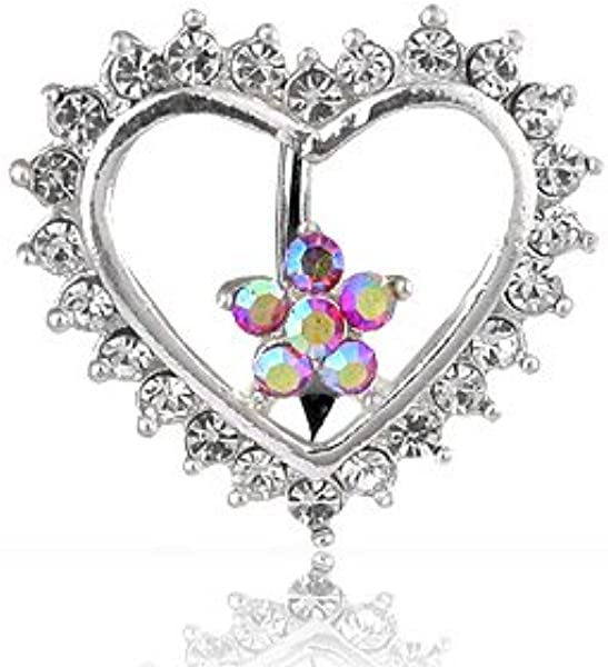 modern and elegant in fashion exceptional range of styles and colors fashion Multi Crystal Heart and Flower Top Down Reverse Belly Bar Navel Ring