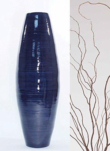 "Green Floral Crafts 36"" Bamboo Cylinder Floor Vase, Branches & Botanicals - Dark Blue"