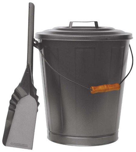 - Uniflame, C-1724B, Olde World Iron Finish Ash Bin with Lid and Shovel
