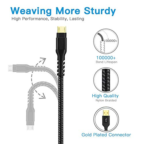 Gopala Micro USB Cable Nylon Braided Fast Quick Charger Cable 4Pack 6FT 6FT 3FT 3FT Android Charging Cord for Samsung Galaxy S7 S6, Note, LG, Nexus, Nokia, PS4, Xbox One Controller and More (Black)