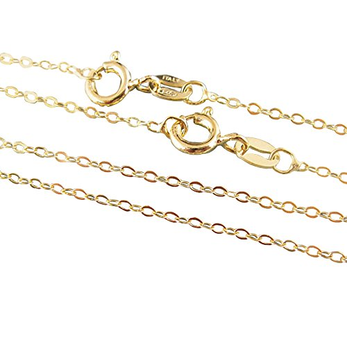 22K Gold Plated, Vermeil,925 Sterling silver Chain,Necklace -Cable Flat Oval- Finished Necklace for Pendant -All Sizes (18 inches)
