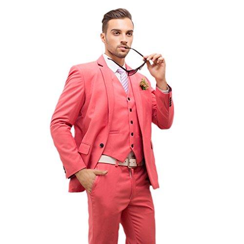 POSHAWN Men's Slim Fit Notch Lapel Three Piece Suit Set Medium