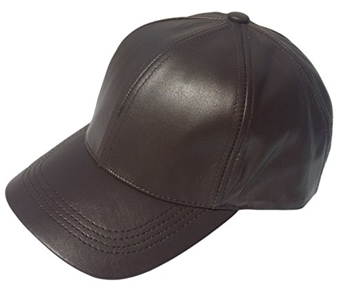 REED Unisex Genuine Leather Curved Bill Baseball Cap Hat Made in USA - Usa Brown