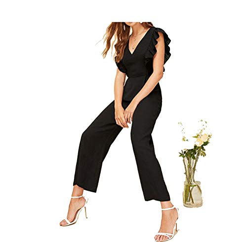 Free People Sparkle - Free-people Black Plunging Neck Flounce Trim Wide Leg Women Elegant High Waist Long Trouser Deep V Neck Summer Jumpsuits,S