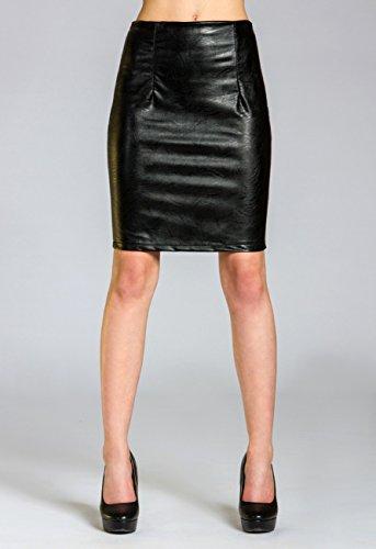 Noir RO009 crayon stretch similicuir Jupe en pour CASPAR et femme sexy SwqvURnfT