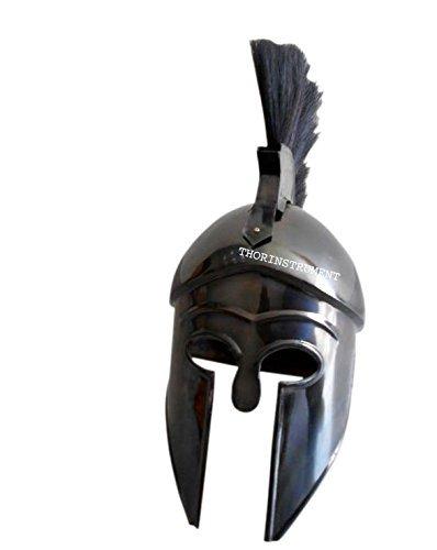 Co rey griego espartano Corinthian casco Medieval casco con negro penacho réplica antiguo