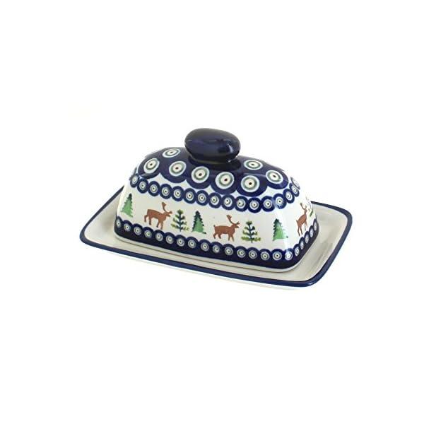 Blue Rose Polish Pottery Reindeer Pine Butter Dish