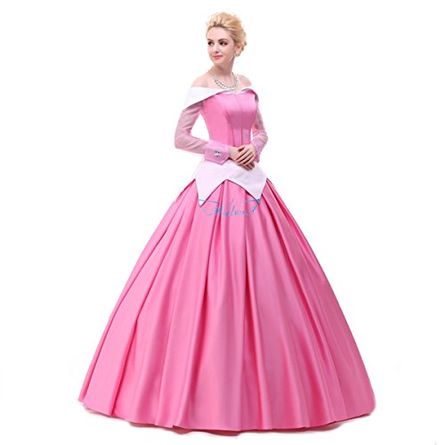 [Angelaicos Womens Deluxe Princess Costumes Satin Lolita Dress Cloak Petticoat (XL, Pink)] (Ariel Blue Dress Costumes)