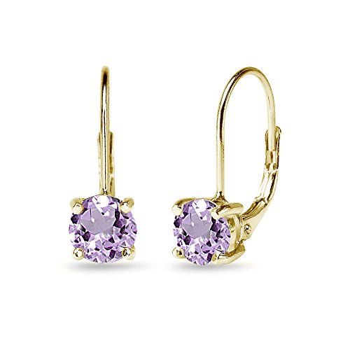 Yellow Sterling Silver 6mm Round-Cut Amethyst Leverback Earrings 6mm Amethyst Leverback Earring