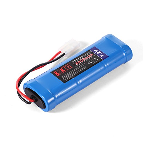 BAKTH High Capacity Security 7.2V 4000mAh Rechargeable Low Self Discharge NiMH Battery Pack with Tamiya Connector for RC / Remote Control Car, Robots + Customized Coaster