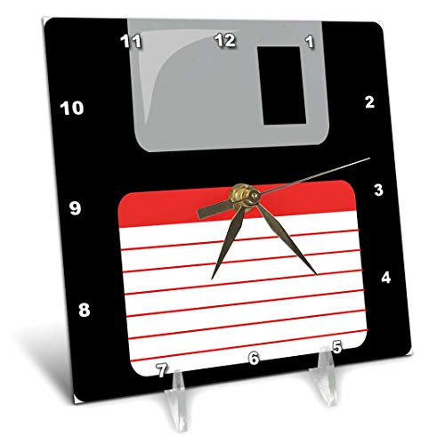 (3dRose Retro 90s Black Floppy Disk Graphic Design with red label-1990s-ninties Computer tech-Desk Clock, 6 by 6-inch (dc_57457_1), 6