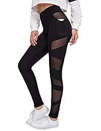 SweatyRocks Leggings de Cintura Alta con Panel de Malla Lateral para Mujer