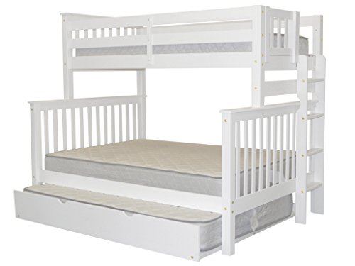Bedz King Bunk Beds Twin over Full Mission Style with End Ladder and a Full Trundle, White