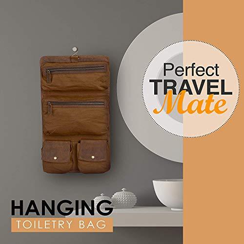 KomalC Premium Buffalo Leather Hanging Toiletry Bag Travel Dopp Kit