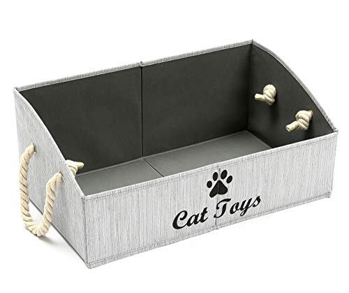 Geyecete Large Dog Toys Storage Bins – Foldable Fabric Trapezoid Organizer Boxes with Cotton Rope Handle, Collapsible Basket for Shelves, Dog Toys, Dog Apparel & Accessories,Dog Diaper