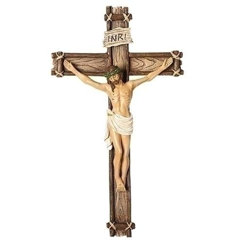 (Traditional Corpus Natural Textured Wood Tone 6 x 10 Resin Stone Wall Crucifix)