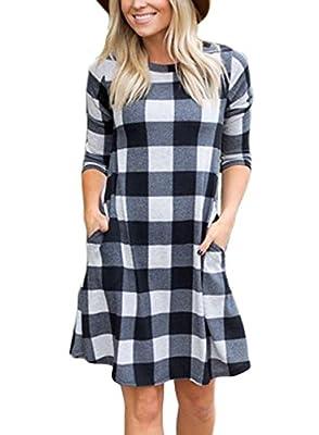 Acelitt Womens Casual Plaid Stripe Mini Swing Shirt Dress with Pockets