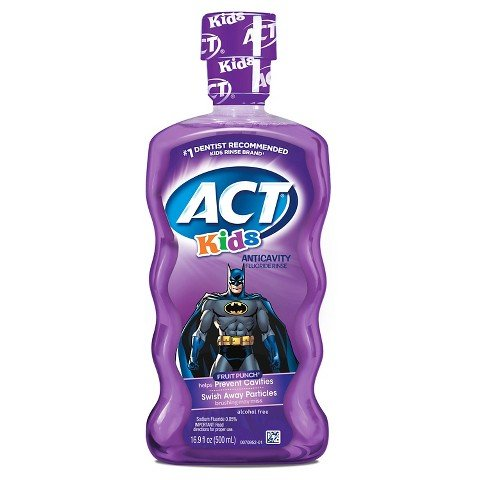 Act Fluoride Rinse (ACT Kids Anticavity Fluoride Rinse, Batman Fruit Punch, 16.9 Bottle (2-Pack))
