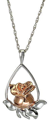 Memorial Gallery MG-3169srg Tear Drop Two Tone Sterling Silver and Rose Gold Cremation Pet Jewelry by Memorial Gallery