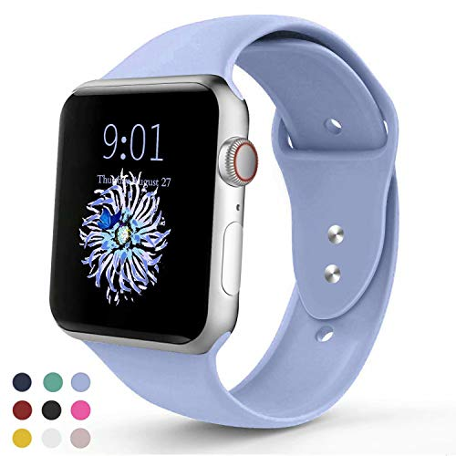 VATI Sport Band Compatible with Apple Watch Band 40mm 44mm 42mm 38mm, Soft Silicone Sport Strap Replacement Bands Compatible with iWatch Apple Watch Series 4, Series 3/2/1 S/M M/L