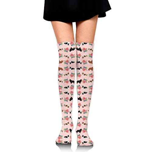 HFJDLSK Men & Women Knee High Compression Socks - Cavalier King Charles Spaniel Pink Florals Floral Dog Pattern - Perfect for Nurses, Runners, Athletes, Diabetics