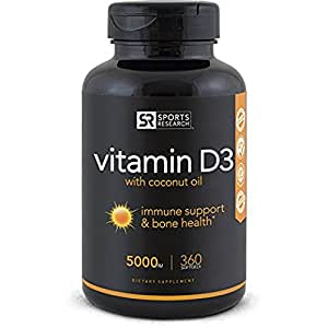 High Potency Vitamin D3 (5000iu) enhanced with Coconut Oil for Better Absorption ~ Bone, Joint and Immune system support ~ Non-GMO & Gluten Free, 360 Mini Liquid Softgels, Made in USA