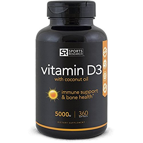 Vitamin D3 enhanced with Coconut oil for better absorption – 360 Mini-Softgels 41jjm9Fo1EL