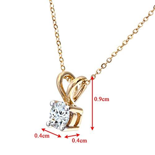 Revoni Bague en or jaune 9carats-Diamond-Collier Femme-Pendentif-Diamant 0.33Cts