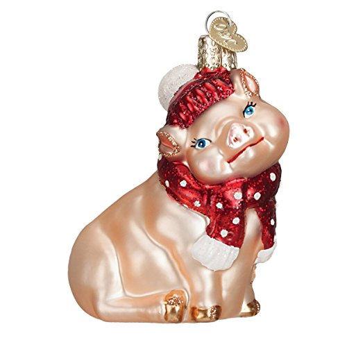 Blown Glass Pig (Old World Christmas Ornaments: Snowy Pig Glass Blown Ornaments for Christmas Tree)