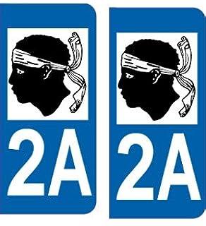 2 IMMATRICULATION 2A CORSE CORSICA AJACCIO ILE DEPARTEMENT STICKER AUTOCOLLANT