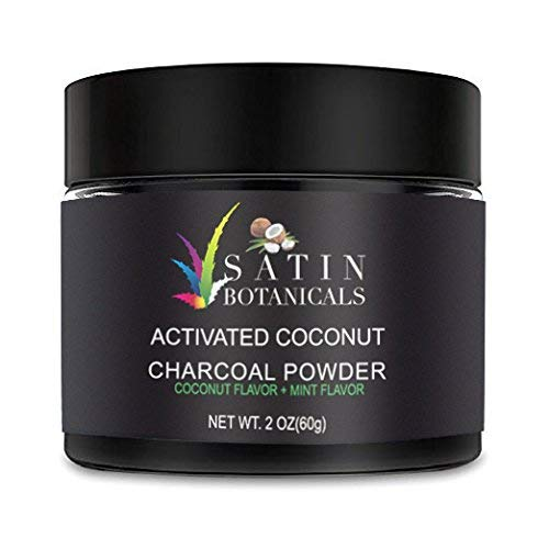 Charcoal Teeth Whitening Powder Activated -Coconut and Mint Flavored-Teeth Stain Remover By SATIN BOTANICALS