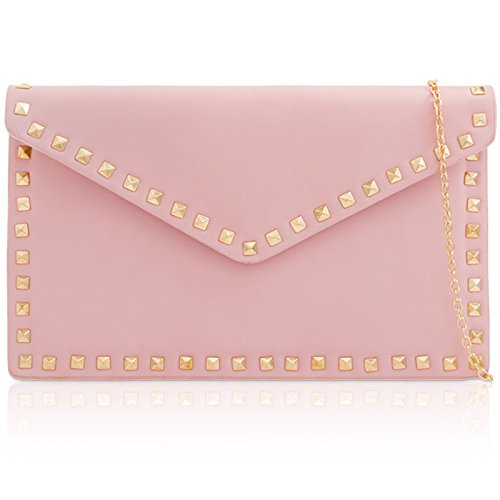 Chain Envelope Long Shaped Medium Handheld Trim London Flat Faux Bag Strap Leather Party Stud Detachable Clutch Evening For with Pink Xardi Women's UpHPqwvP