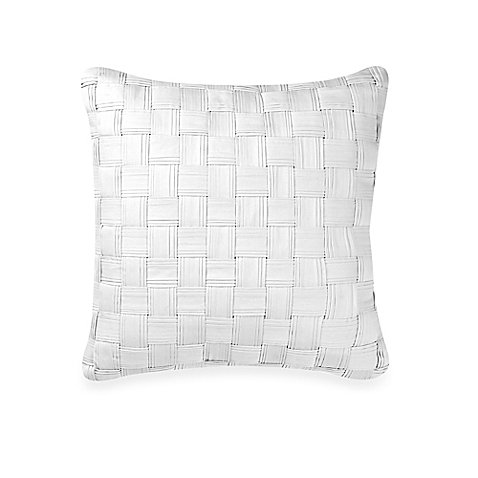 Real Simple Lattice Square Throw Pillow in White | Measures 16'' W x 18'' L by Real Simple