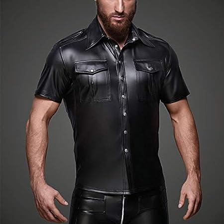 OLLOLCCY Camiseta Músculo Cuero Mate Hombre Estilo Policía ...