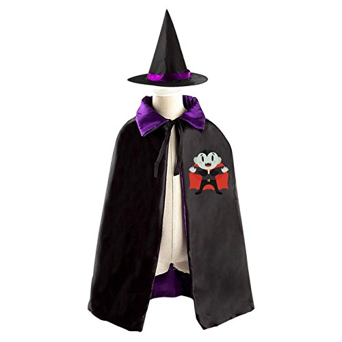 Bat-Zombie Kids Halloween Cloak Witch Reversible Cape and Hat Costumes for Boys (Diy Scarecrow Costume)